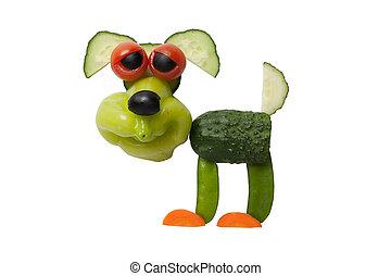 hecho, viejo, vegetales, perro, aislado, verde, Plano de...