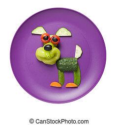 perro, hecho, de, vegetales, en, púrpura, placa,