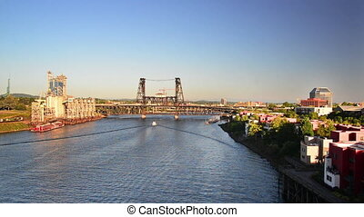 Steel Bridge and Willamette River - View of the Steel Bridge...