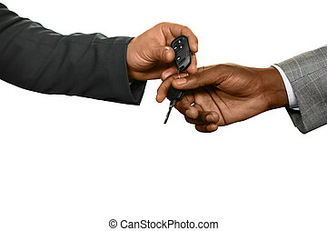 A test-drive. - Man handing keys. Just take my car. A...