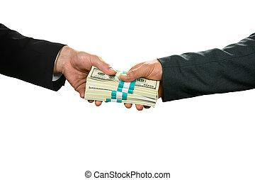 Sending best regards. - Businessman taking dollars. Sending...