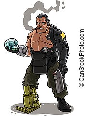 Cyborg - Illustration of cyborg soldier character.