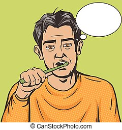Man brushing his teeth morning pop art vector - Man brushing...