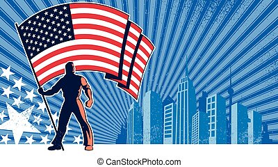 Flag Bearer USA Background - Flag bearer holding the flag of...