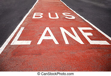 Closeup of the bus lane sign at Sydney, Australia