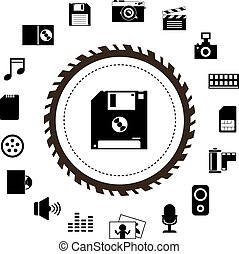 technology and storage icon set - vector technology and...