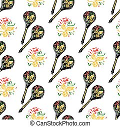 Russian wooden spoon seamless pattern. National cutlery with floral ornament-khokhloma.