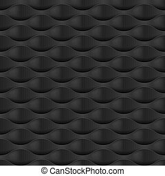 Embossed Texture Wave. Seamless Pattern in Black Color