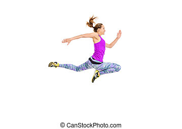 endurance - Athlete young woman running fast. Concept of...