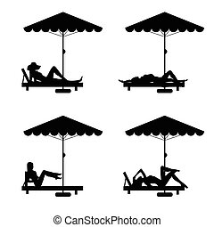 deckchair and umbrella with woman on it illustration -...