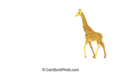 Giraffe Cycle - Isolated cartoon giraffe walking animation