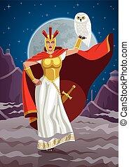 Athena - Goddess Athena holding white owl