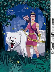 Artemis - Goddess Artemis in woods with bear.