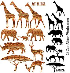 African Animal Silhouettes - Set of African animal...