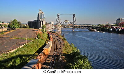 Train Passing through Portland, Oregon - Train passing...