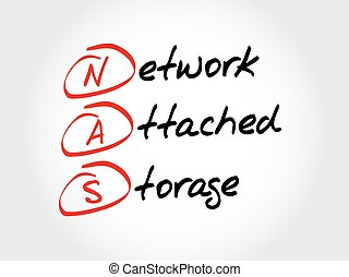 NAS Network Attached Storage, acronym business concept