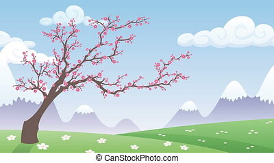 Spring Landscape - Cartoon spring landscape with blossoming...