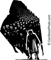 Old Woman with shadow of refugees - Woodcut style...