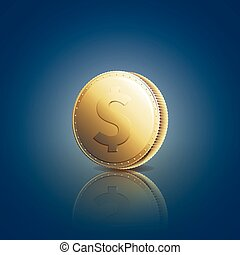 Gold coin with dollar sign on blue background