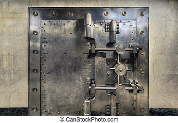 Old Bank Vault Wide - Old Bank Vault in Basement of Historic...