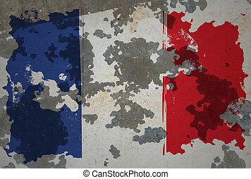 French, grunge flag