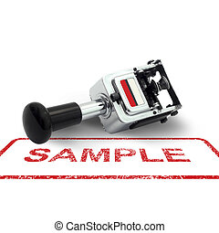 Rubber Stamp SAMPLE concept on a white background