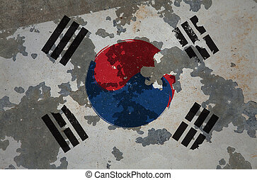 South Korea, grunge flag