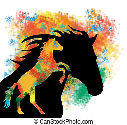 ColorfulHorse - Abstract color with rearing horse inside...