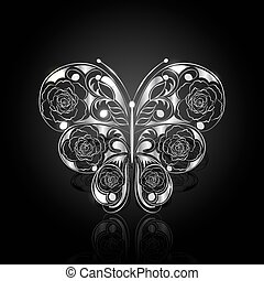 Silver abstract butterfly on black background