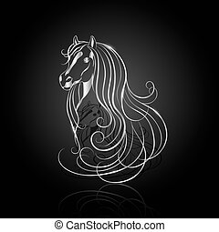 Silver abstract horse