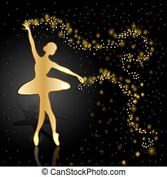Gold ballerina on dark background. - Gold ballerina holding...