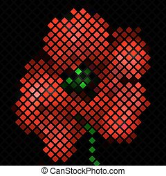Mosaic background with red poppy flower