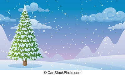 Winter Landscape 2 - Cartoon winter landscape with Christmas...