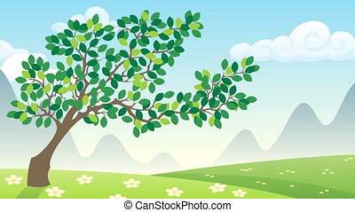 Summer Landscape - Cartoon summer landscape with green tree...