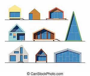 Tiny houses linear 1 color - Set of various design small...