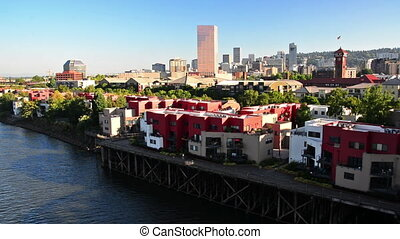 Downtown Portland, Oregon on the banks of the Willamette...