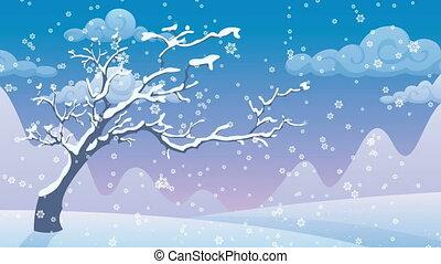 Winter Landscape - Cartoon winter landscape with falling...