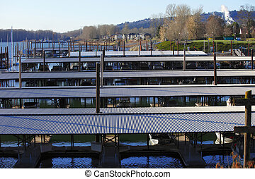 Marina in Camas WA - Sailboats yachts garaged in this marina...