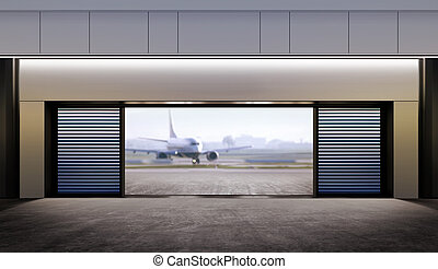 opened gate in airport - opened gate and passenger plane...