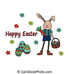 Easter traditional symbols card. Easter doodle. - Easter...