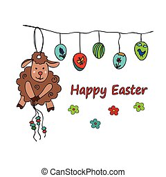 Easter traditional symbols card with sheep - Easter card...