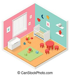 Child playroom isometric icon set vector graphic...