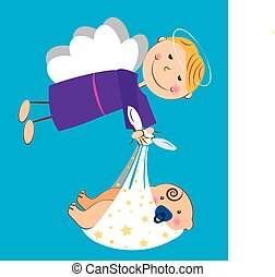 angel with baby - It is a vector illustration of an angel...