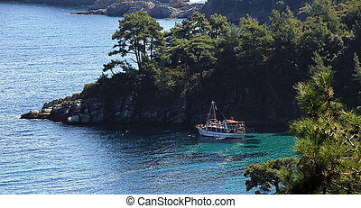 Thassos island, beautiful seascape on Greece - a deep bay...