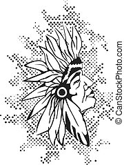Native american - Native American Head. Indian.