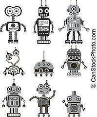Robots - Set of cute vintage robots. Icons.