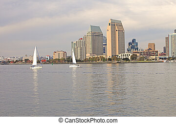 Two sailboats, San Diego California.-2 - Two sailboats...