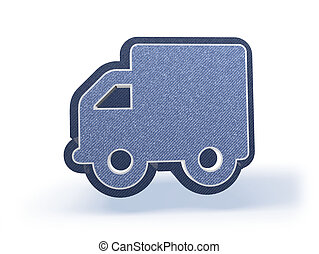 Truck Shopping Icon in blueish denim look - Shopping Icon in...