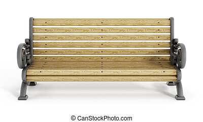 Park Bench - Wooden park Bench isolated on white background