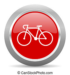 bicycle red metallic chrome web circle glossy icon - bicycle...